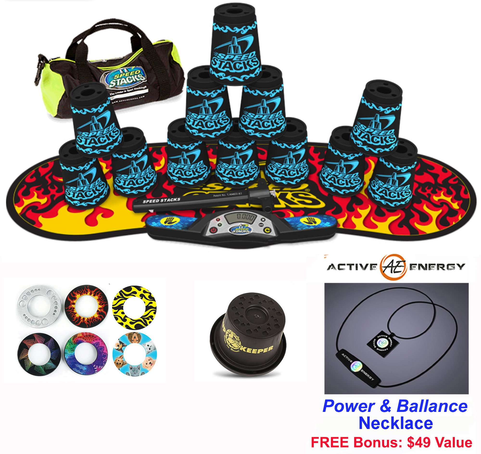 Speed Stacks Combo Set 'The Works'': 12 Black TATOO 4'' Cups, Black Flame Gen 3 Mat, G4 Pro Timer, Cup Keeper, Stem, Gear Bag + Active Energy Necklace