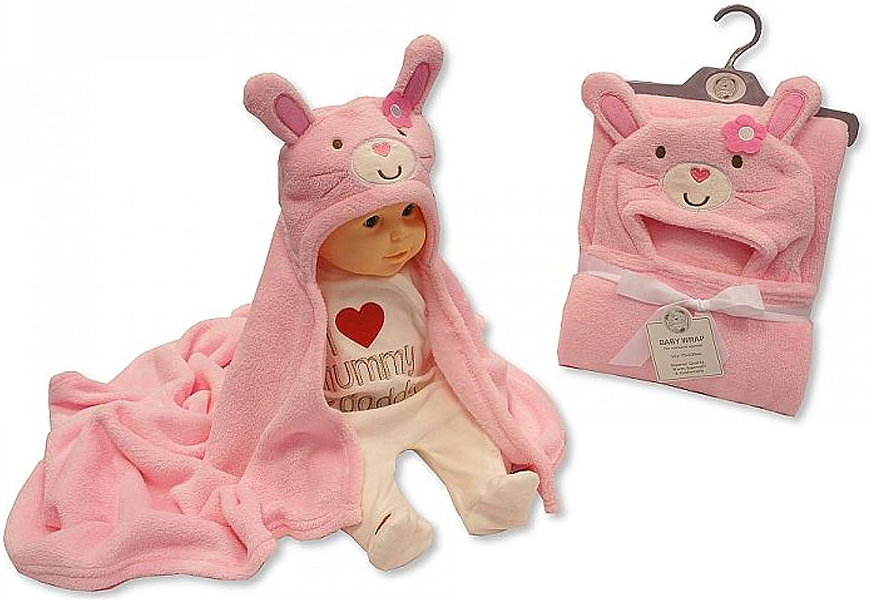 Manta con capucha para bebés rosa rosa a conejitos