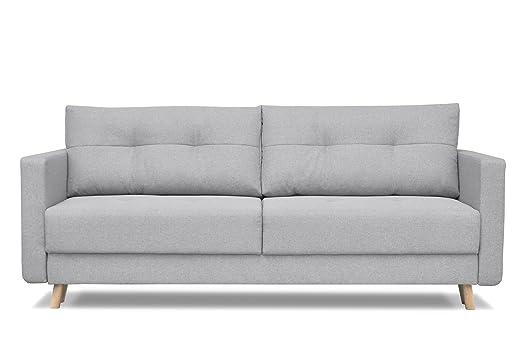 Sofá escandinavo de 3 plazas, tela gris, sofá-cama ...