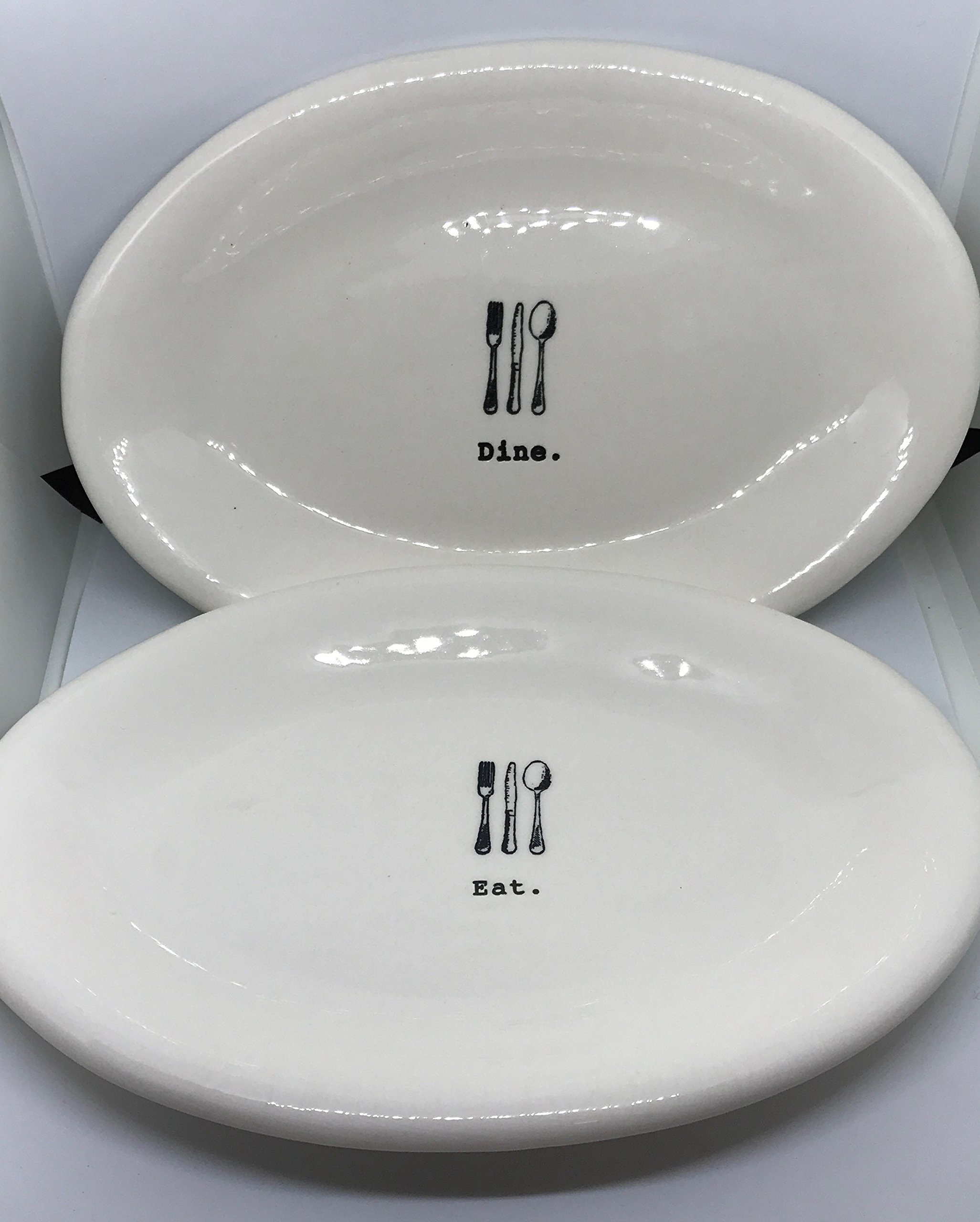 RARE Rae Dunn by Magenta Eat and Dine in typeset with fork knife and spoon 8 inch snack platter dish