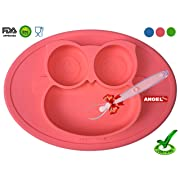 Owl Silicone Placemat - Spill Proof Suction Plate for Baby, Kids, Children, Toddlers by Angel Home (Pink)