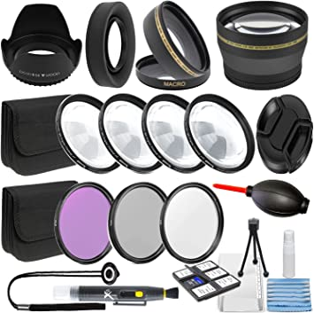 Panasonic Kodak Professional 58MM Lens Accessory Kit for Canon 2.2X Telephoto Lens Sony Nikon Fuji Glass Filter Kit /& More Includes: 58 mm Close-Up Lens Kit 58mm Wide Angle Lens