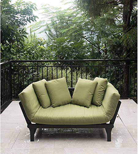 Outdoor Futon Convertible Sofa Daybed Deep Seating Adjustable Patio Furniture Green