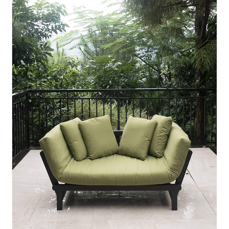 Amazon com outdoor futon convertible sofa daybed deep seating adjustable patio furniture green garden outdoor