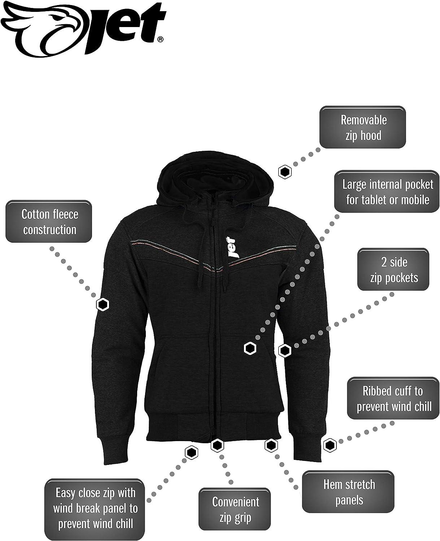 XL, Full Black JET Motorcycle Motorbike Jacket Kevlar Hoodie Aramid Reinforced Lining Cotton