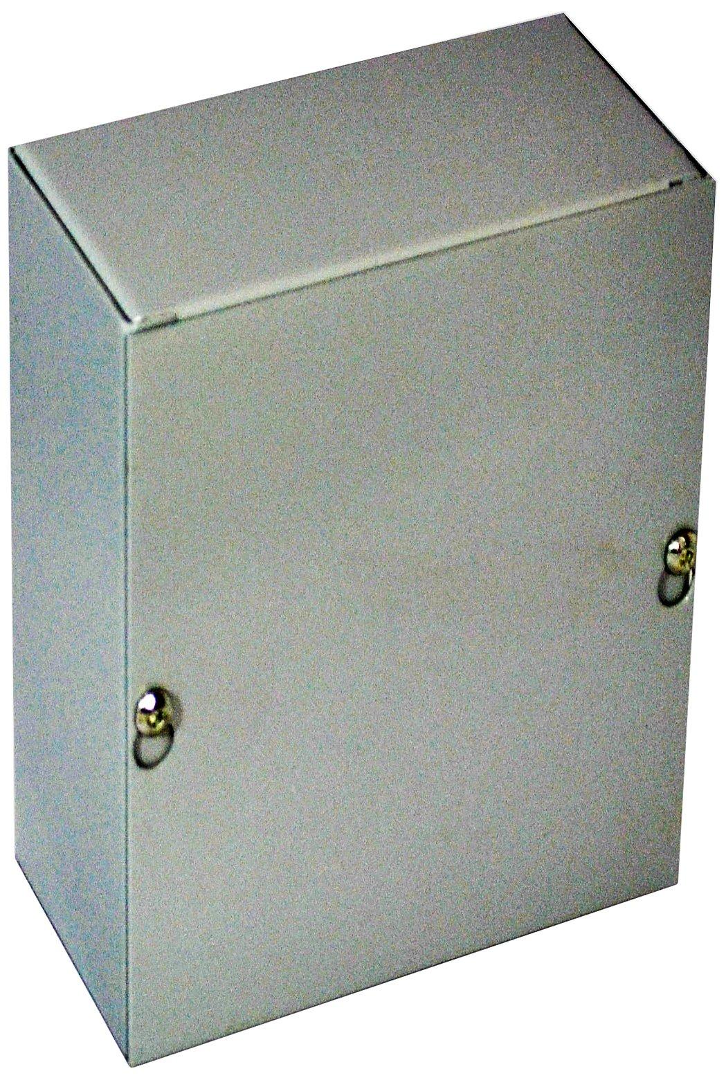 BUD Industries JB-3944 Steel NEMA 1 Sheet Metal Junction Box with Lift-off Screw Cover, 4'' Width x 6'' Height x 3-1/2'' Depth, Gray Finish