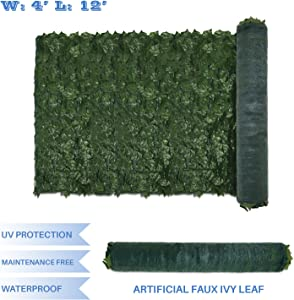 E&K Sunrise 4' x 12' Faux Ivy Privacy Fence Screen with Mesh Back-Artificial Leaf Vine Hedge Outdoor Decor-Garden Backyard Decoration Panels Fence Cover - Set of 1