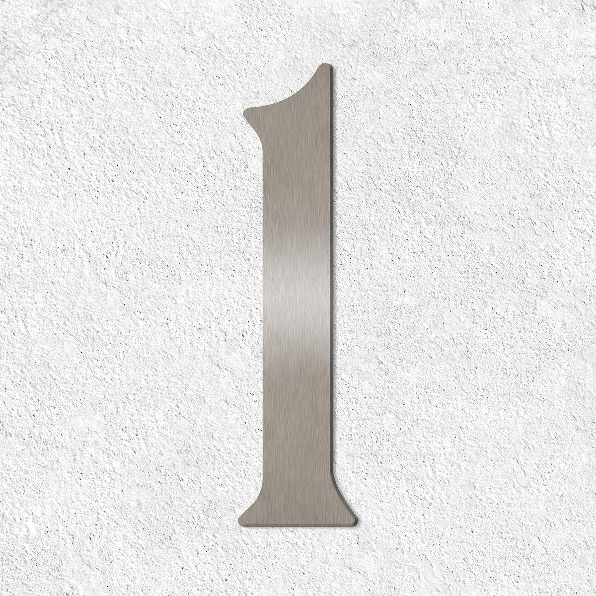 160/mm//16/cm acier inoxydable bross/é//poli h Thorwa/® verschn/örkelte Design en Acier Inoxydable num/éro de maison 1/Cabalette style