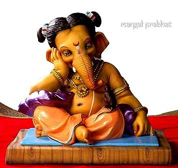 Buy Cute Ganesha Idol God Ganpati Ganesh Ganeshji Handicraft Statue Spiritual Puja Vastu Pooja Gift Item 24 Cm Online At Low Prices In India Amazon In