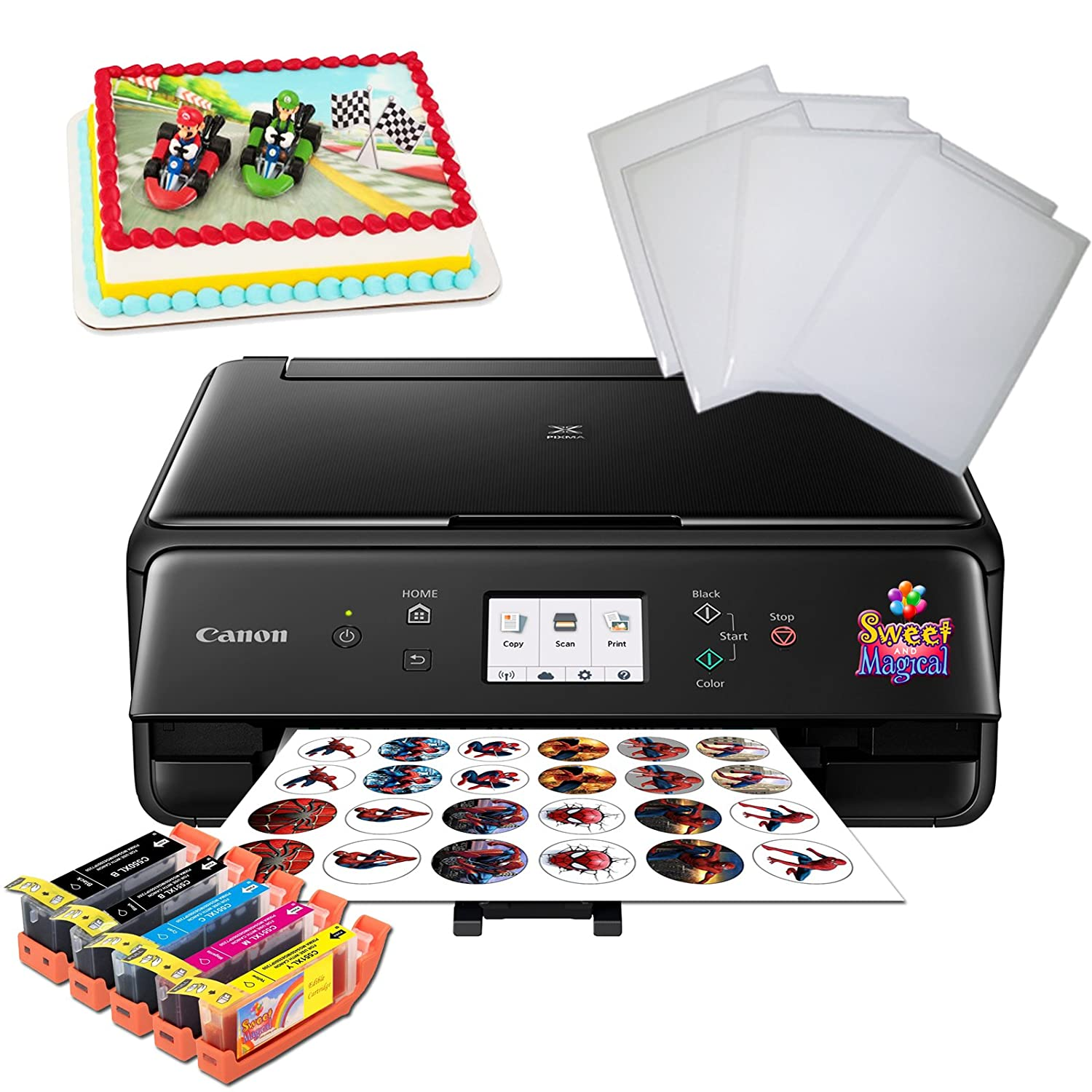 Edible Printer Bundle for Canon - Comes with Edible Ink Cartridges & Frosting Sheets Sweet & Magcal TS5020/6020