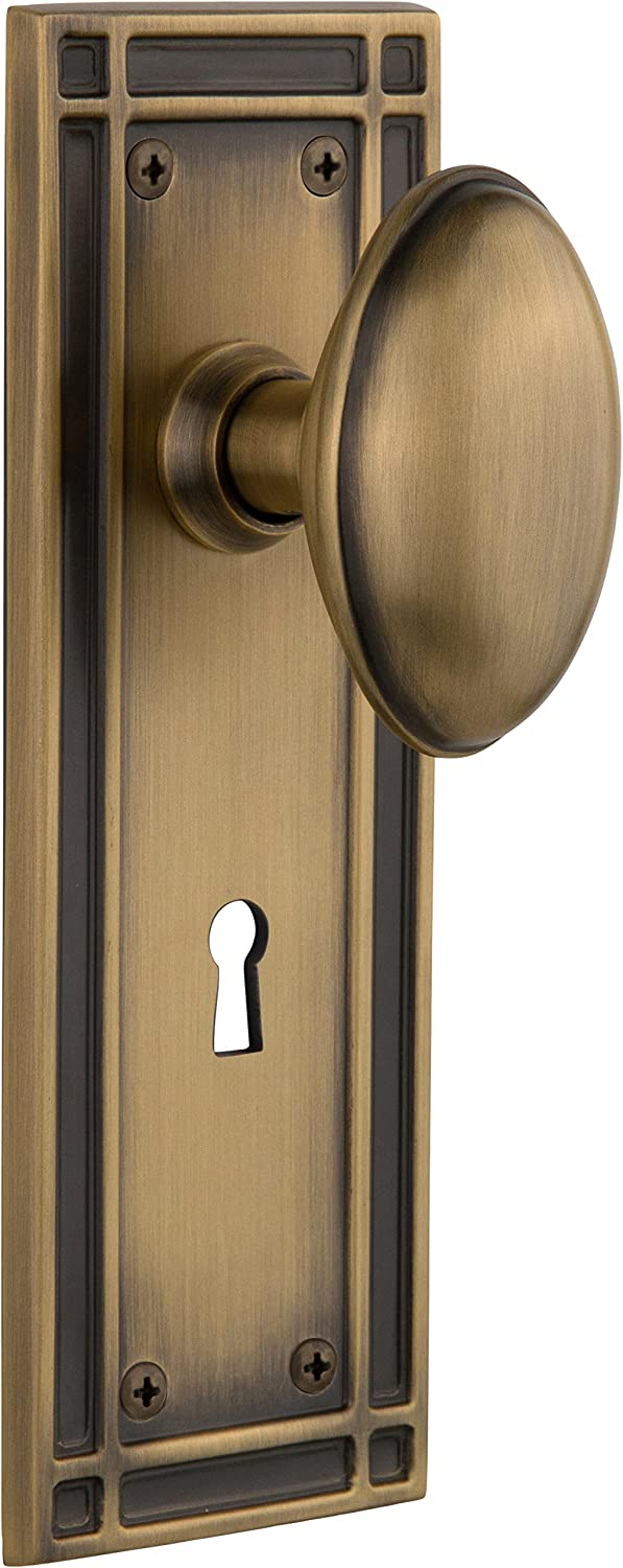 "Nostalgic Warehouse Mission Plate with Keyhole Homestead Knob, Mortise - 2.25"", Antique Brass"