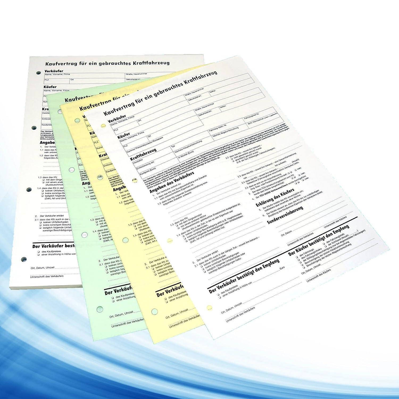 KFZ Auto Kaufvertrag 3fache Ausführung Durchschreibsatz 4xGelocht als A4 Block