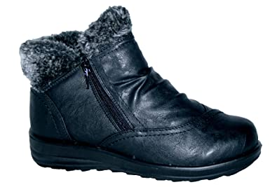 8276086999d50 Cushion Walk Winter Warm Lined Ankle Boots Womens Padded UK 4-8