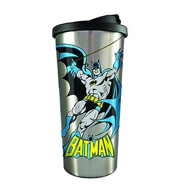 Spoontiques 20833 Batman Stainless Steel Travel Mug, Silver