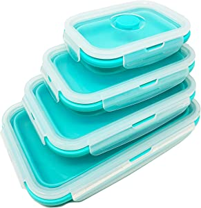 Collapsible Silicone Food Storage Box Containers with Airtight Lids, Foldable Thin Bin design Space Saver for Kitchen, Leftover, Lunch, Easy Cleaning, BPA Free, Microwave, Dishwasher Safe, Set of 4.