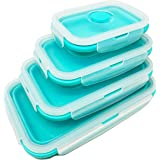 Collapsible Silicone Food Storage Box Containers with Airtight Lids, Foldable Thin Bin design Space Saver for Kitchen, Leftov