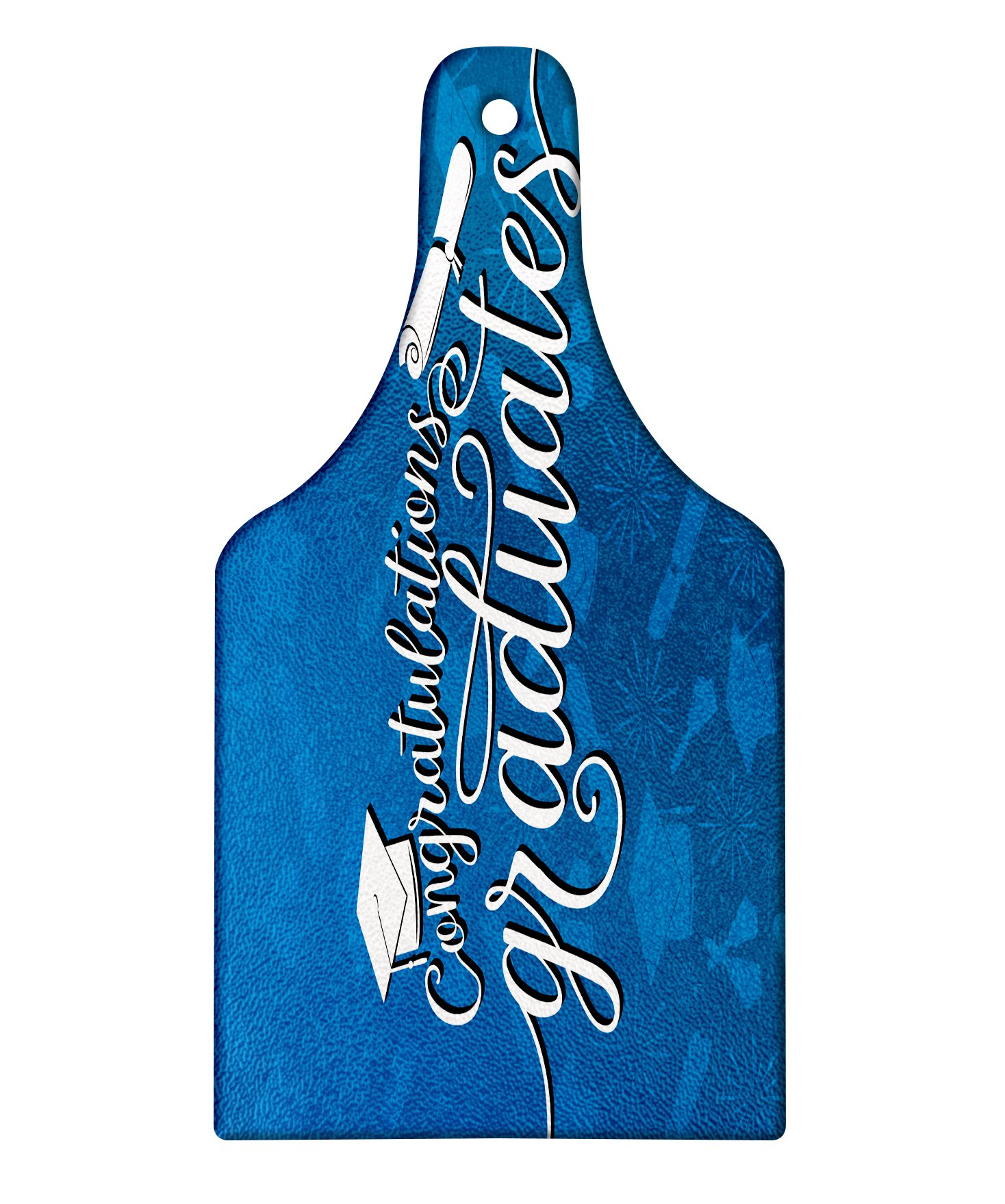 Lunarable Graduation Cutting Board, College Celebration Ceremony Certificate Diploma Square Academic Cap Print, Decorative Tempered Glass Cutting and Serving Board, Wine Bottle Shape, Blue and White