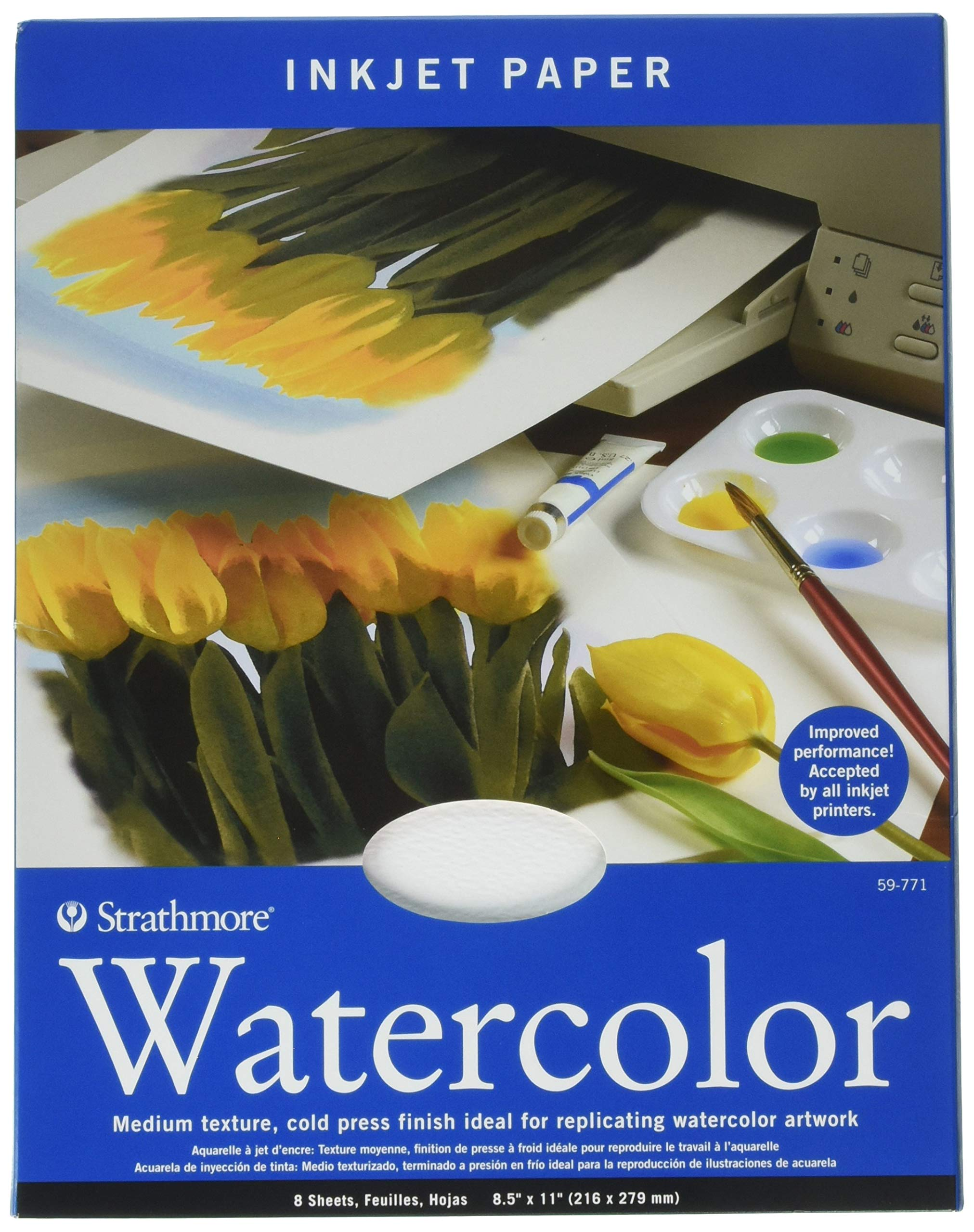 Strathmore 59-771 Watercolor Inkjet Paper, 8.5''x11'', 8 Sheets