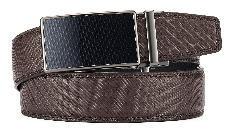 Ratchet Leather Dress Belt for Men Adjustable with Slide Ratchet Buckle in Gift Box
