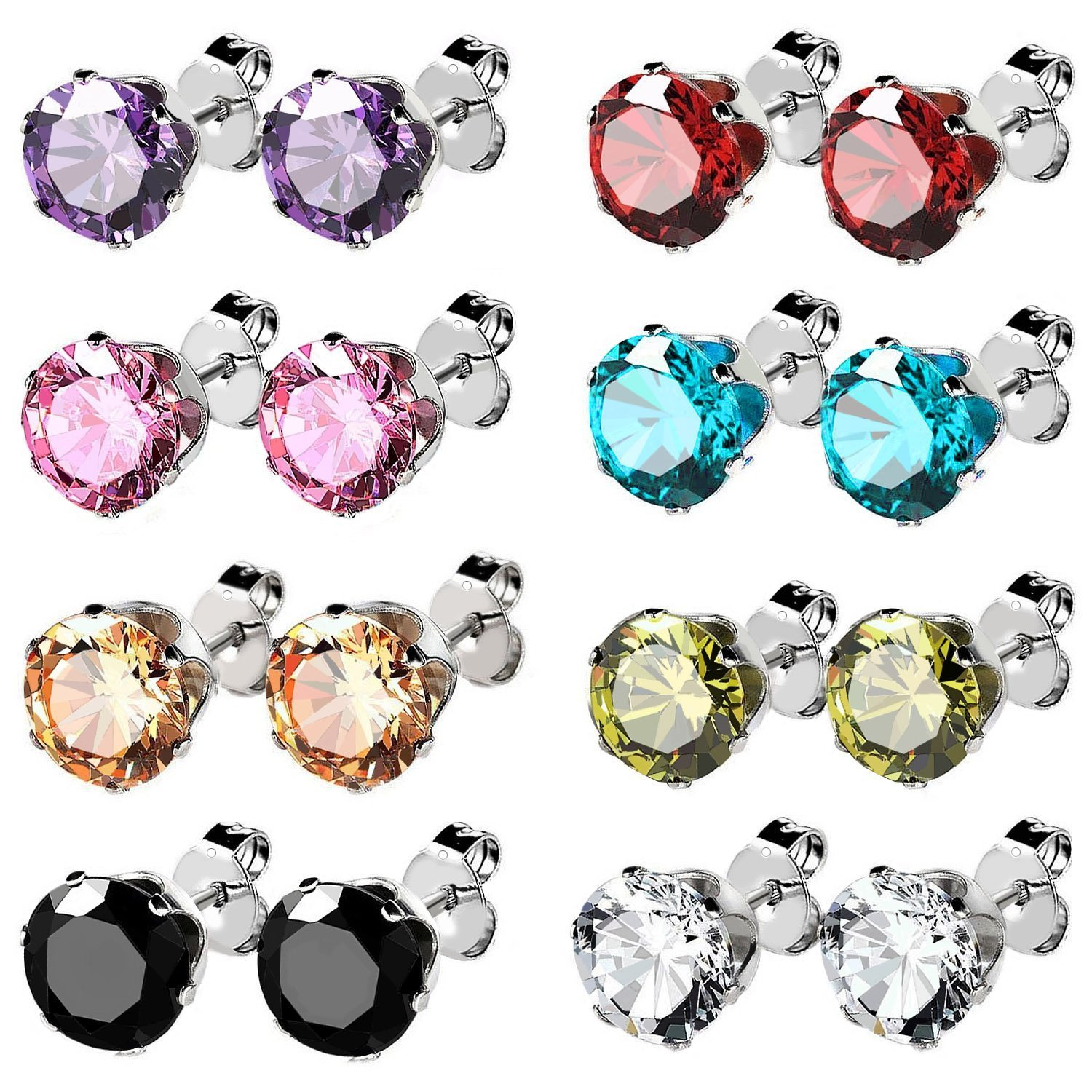 UHIBROS Jewelry Stainless Steel Womens Cubic Zirconia Stud Earrings Multicolor Set Piercing 8 Pairs (cubic-zirconia)