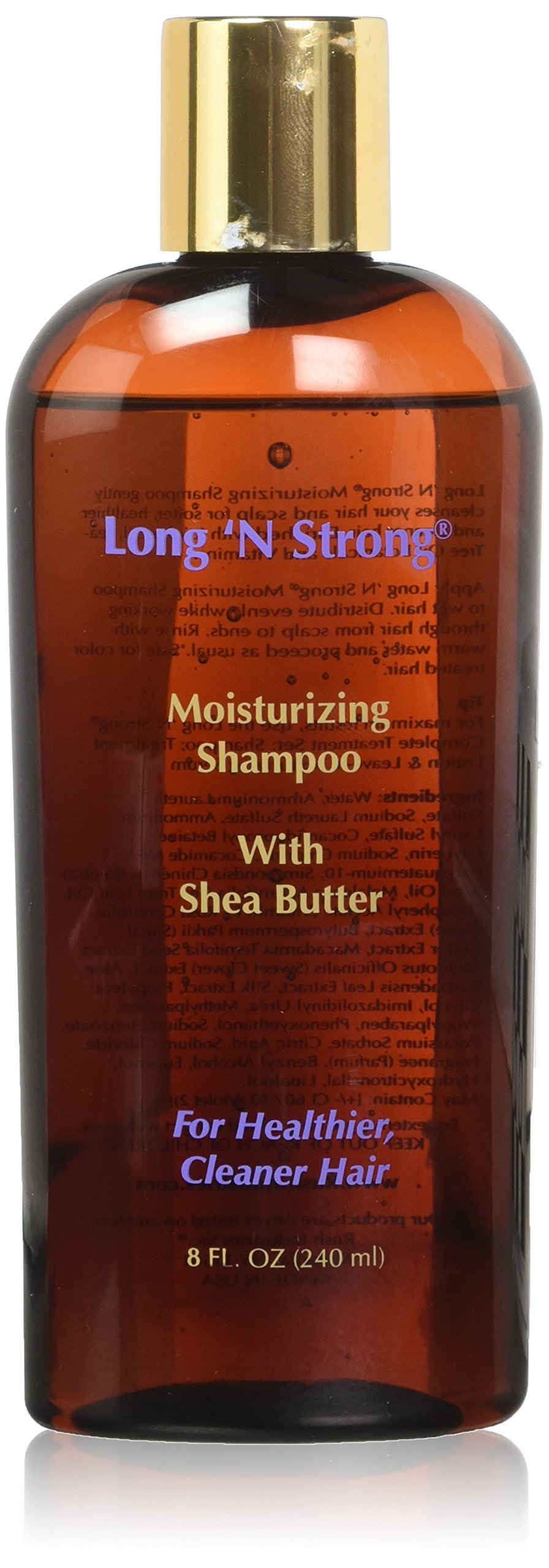 Long 'N Strong Moisturizing Shampoo with Shea Butter! Cleans & Softens Hair, Helping Obtain the Perfect Ph Balance for All Ethnic Hair Types