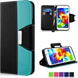 VAKOO Flip Cover PU Leather Wallet Case for Samsung Galaxy S5 (Black-Blue)