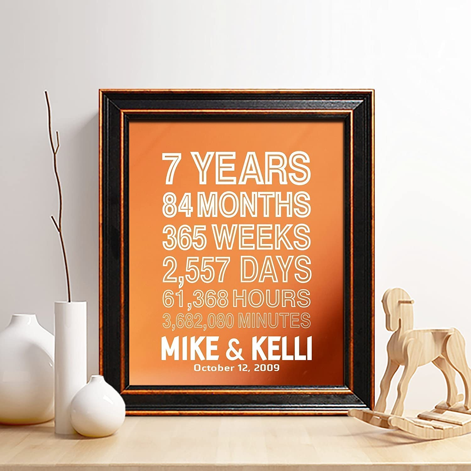 Amazon Com Personalized 7th Copper Anniversary Gift For Him Or Her 7 Years And Counting Copper Print Gifts For Husband And Wife 7 Years Together Handmade