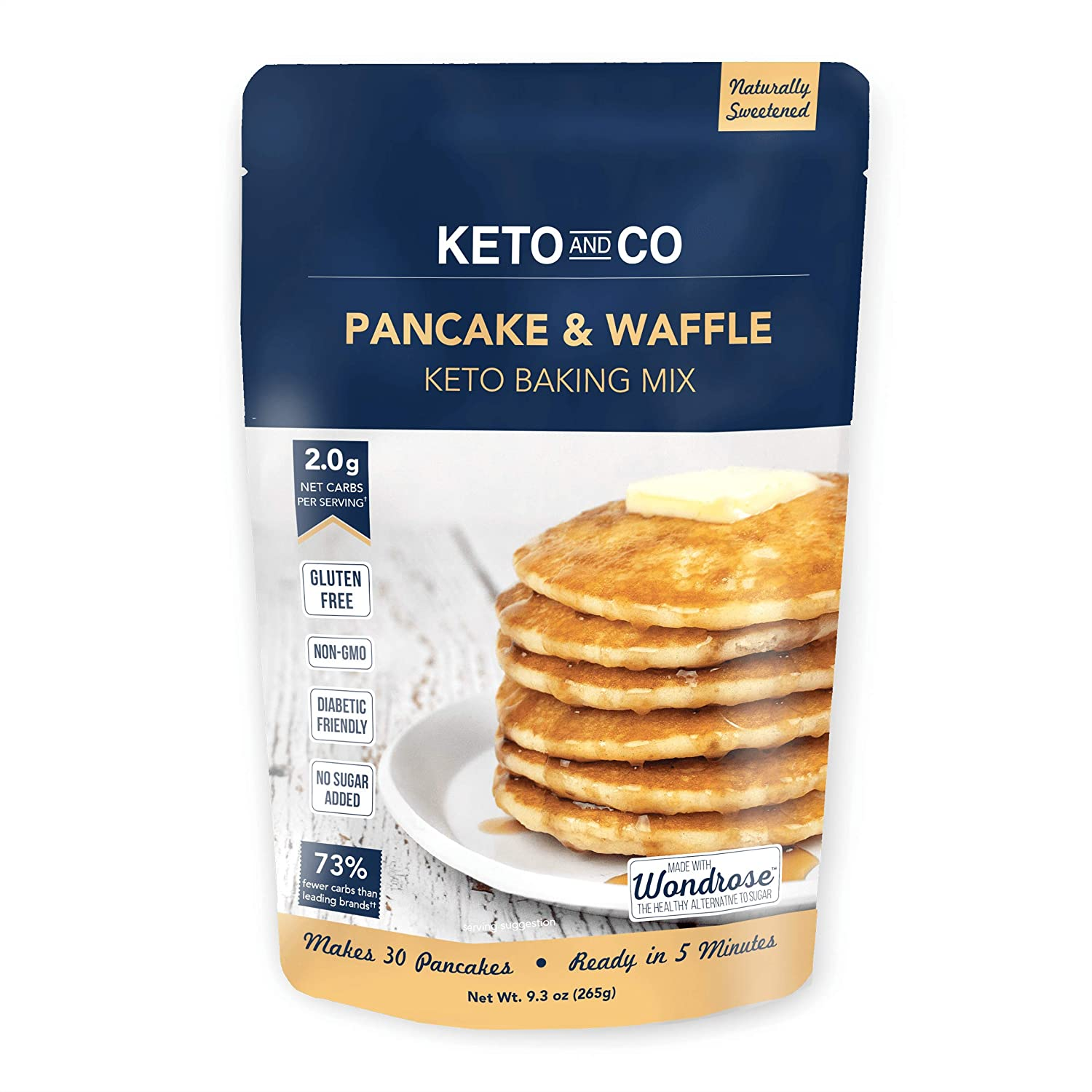 B07QZSFQ59 Keto Pancake & Waffle Mix by Keto and Co | Fluffy, Gluten Free, Low Carb Pancakes | 2.0g Net Carbs per Serving | No Sugar Added | Diabetic & Keto Friendly | Makes 30 Pancakes 81Y1hHM8rZL
