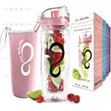 Live Infinitely 32 oz. Fruit Infuser Water Bottles with Time Marker, Insulation Sleeve & Recipe eBook - Fun & Healthy…