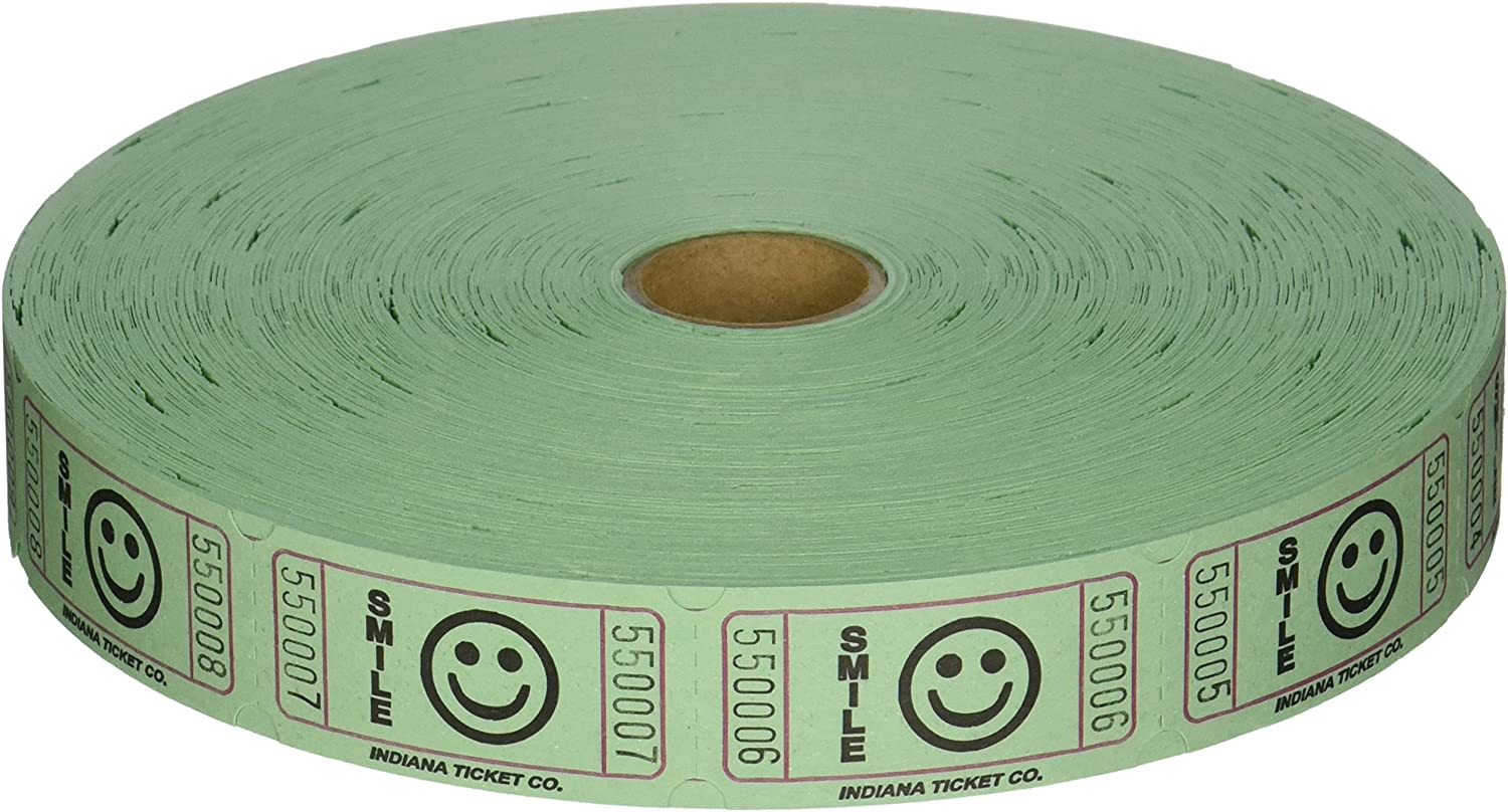2000 Green Smile Single Roll Consecutively Numbered Raffle Tickets