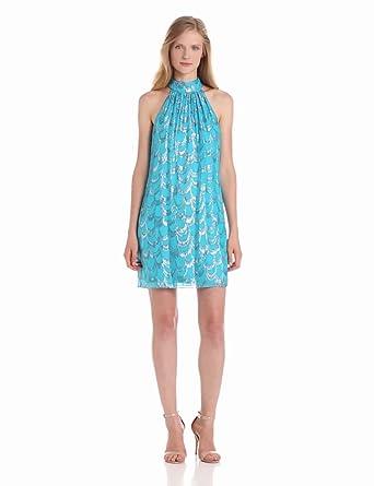 laundry BY SHELLI SEGAL Women's Metallic Clipped Bow Back Dress, True Blue, 12