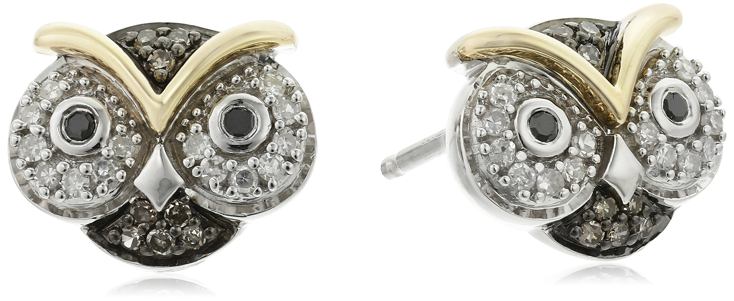 XPY Sterling Silver and 14k Yellow Gold Owl Diamond Stud Earrings (1/5cttw, I2-I3 Clarity)
