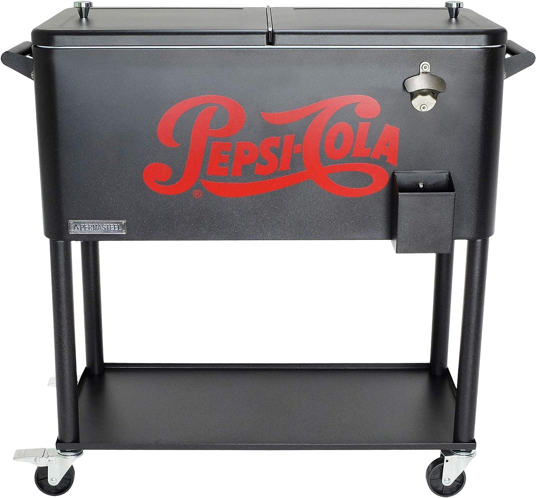 Permasteel PS-206-PEPSI-AM 80 qt. Vintage Pepsi-Cola Portable Rolling Patio Cooler, Matte Graphite