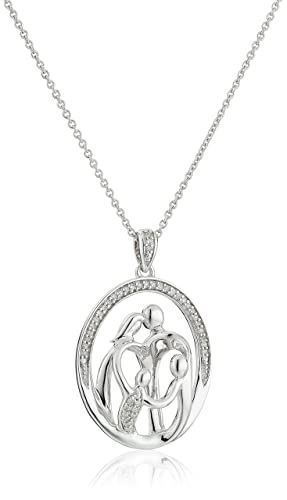 Sterling Silver Diamond Family Pendant Necklace 1 10 cttw , 18