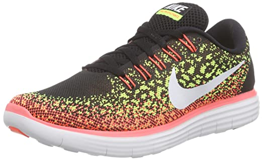 Nike Womens Free Rn Distance Black/White/Volt/Hot Lava Running Shoe 8