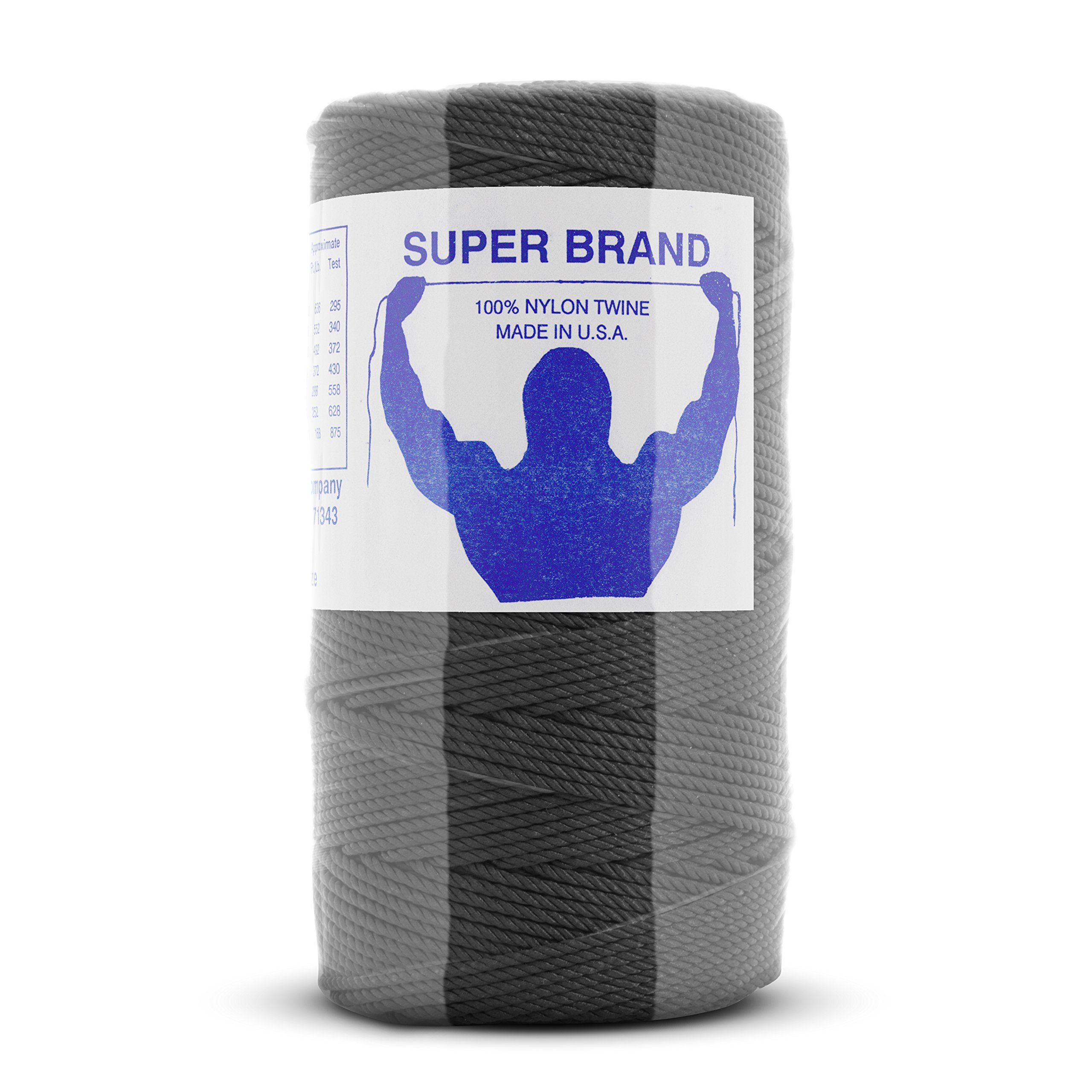 Tarred (Black) Nylon Twine, Twisted. Size #36, 1/4 lb 3-Pack by Super Brand