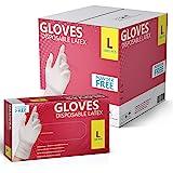 New Disposable Latex Gloves, Powder Free 100 Gloves Per Box  1000 Gloves Case