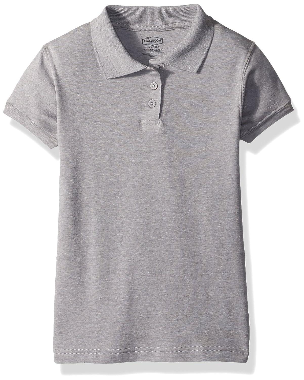XL Heather Gray Classroom School Uniforms Girls Big Short Sleeve Fitted Interlock Polo