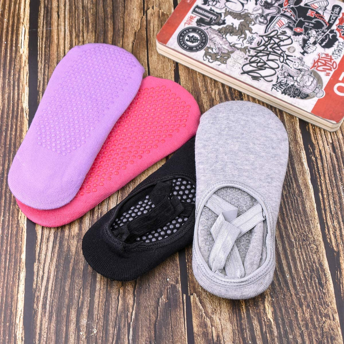 Podinor Yoga Socks for Women Non Slip Anti Skid Sticky Grippers Socks with Grips for Yoga Pilates Barre