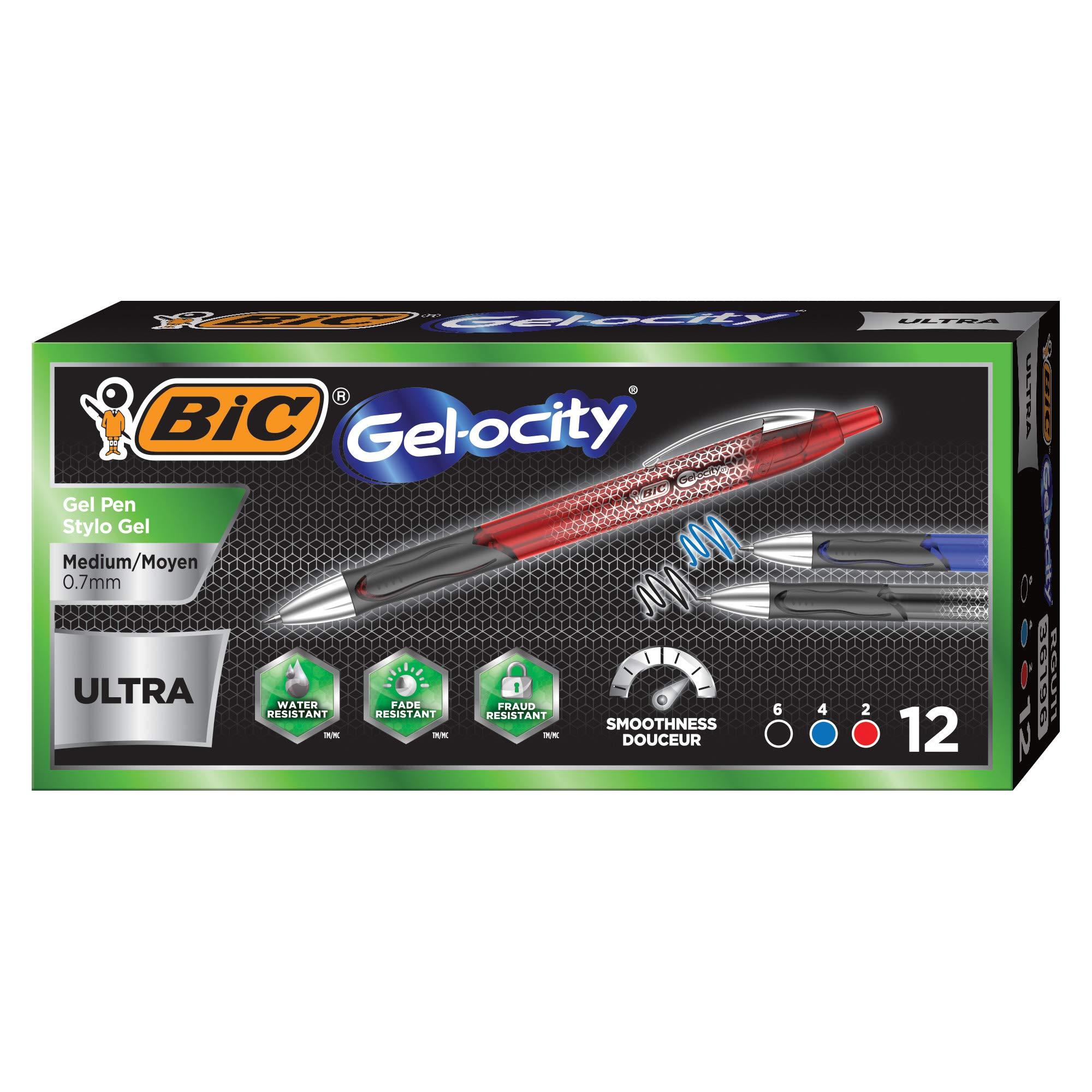 BIC Gel-ocity Ultra Retractable Gel Pen, Assorted Colors, 12-Count by BIC