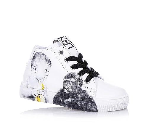 e7586912a84eab BE KOOL - Weißer Schuh Monkey Baby mit Schnürsenkeln aus Leder