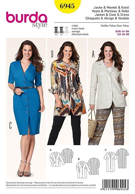 Burda Ladies Sewing Pattern 6945 - Jackets & Dress Plus Sizes: 18-30