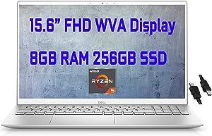 "2021 Flagship Dell Inspiron 15 5000 5505 Business Laptop 15.6"" FHD Display AMD 6-Core Ryzen 5 4500U(Beat i7-10710U) 8GB DDR4 256GB SSD Backlit KB Fingerprint Wifi6 USB-C Win10 + iCarp HDMI Cable"