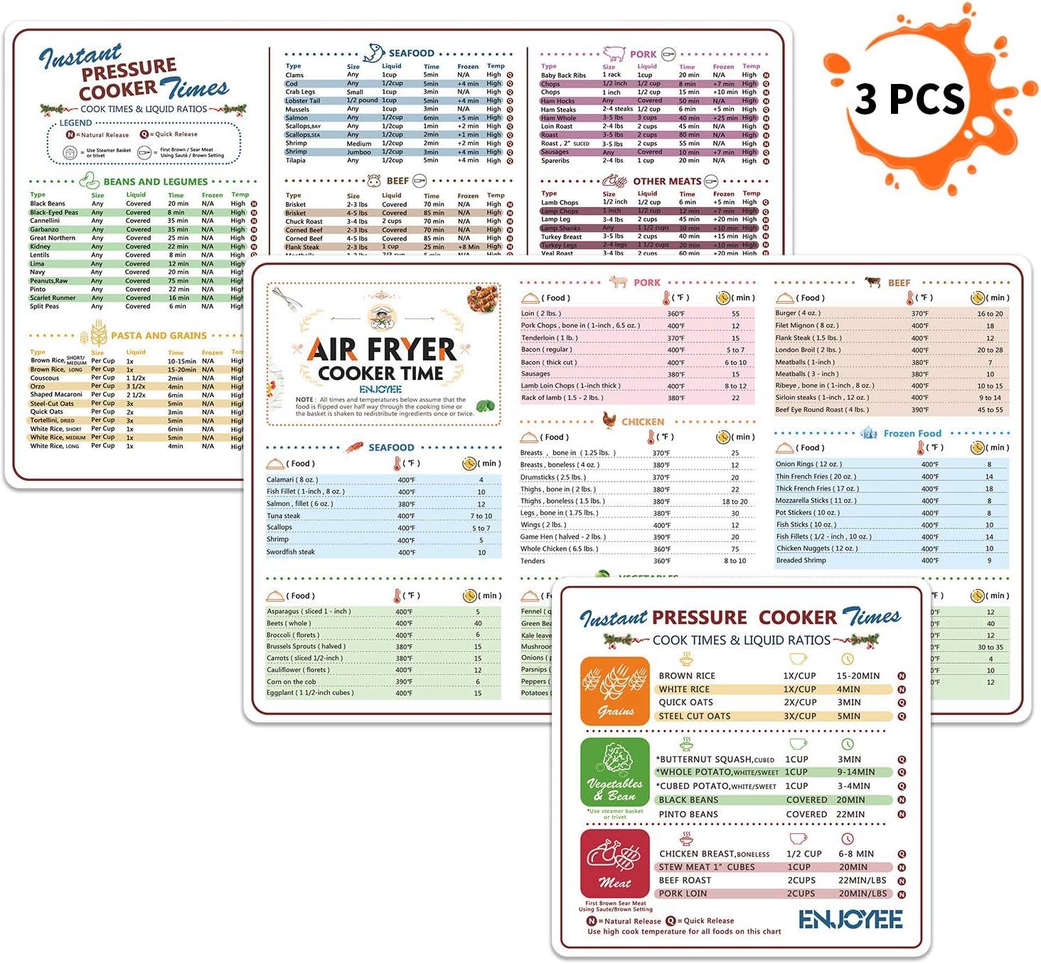 Amazon Com 3 Pcs Air Fryer Magnetic Cheat Sheet Instant Pot Cook