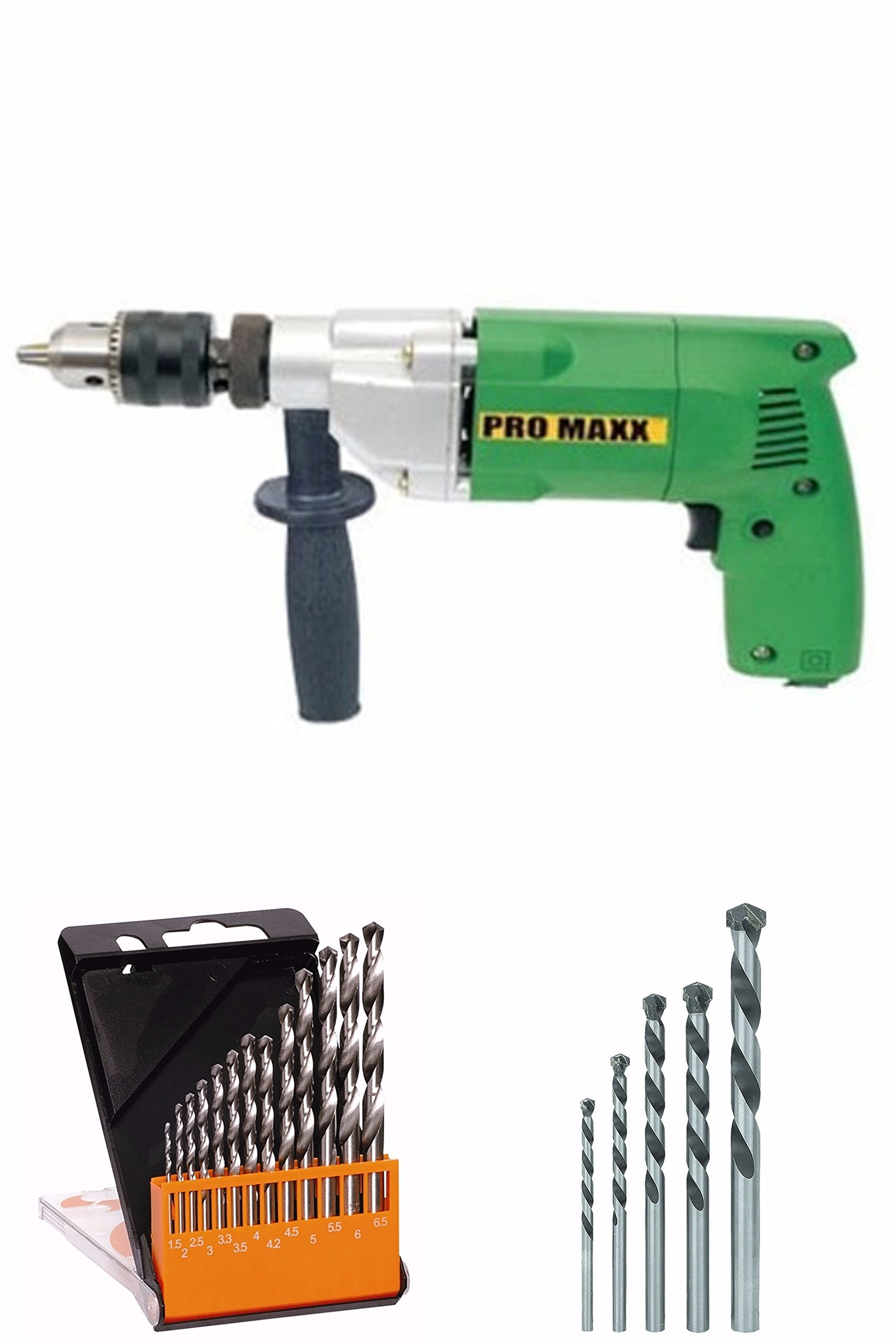 PROMAXX 13 Mm Powerfull Hammer Drill Machine+13Pcs Hss Drill Set For Wood,Metal,Plastic & 5 Pc Masonry Drill Set For Wall,Concretes (Set Of 13)