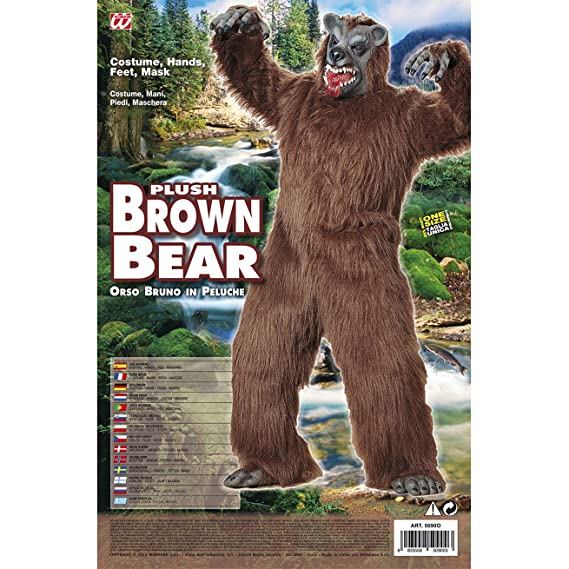 Amazon.com: Mens Brown Bear Plush Costume For Animal Jungle Farm Fancy Dress: Home Improvement