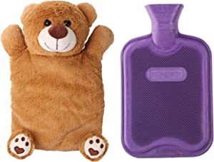 HomeTop Premium Classic Rubber Hot or Cold Water Bottle with Cute Stuffed Animal Cover (2 Liter, Purple)