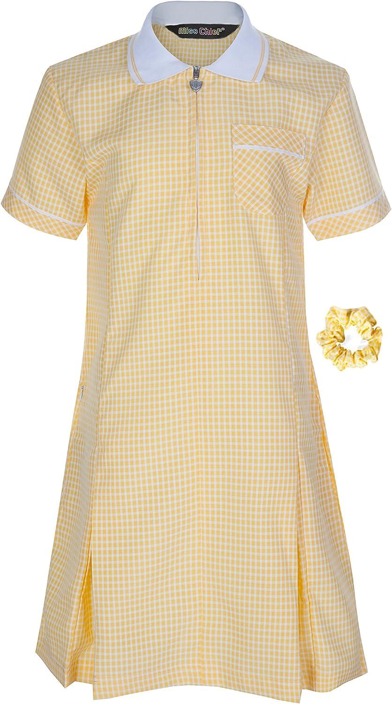 Miss Chief Girls School Uniform Pleated Gingham Summer Dress Hair Bobble Age 3 4 5 6 7 8 9 10 11 12 13 14 15 16 17 18 20