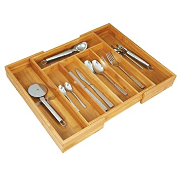 GRAEWE Cutlery Box Kitchen Utensils Holder with Dividers Bamboo