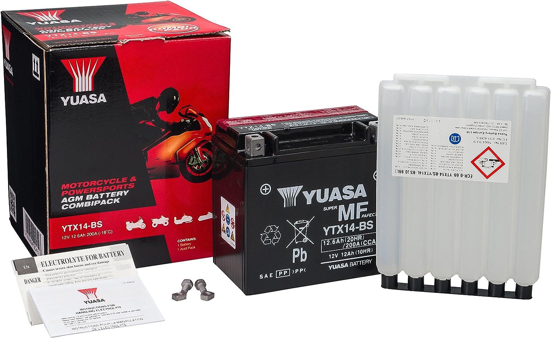 Batterie YUASA YTX14-BS Ma/ße: 150x87x145 f/ür Kawasaki ZZR1400 Baujahr 2007 12V//12AH